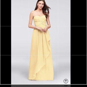 David's Bridal Strapless Crinkle Chiffon Dress Sz2